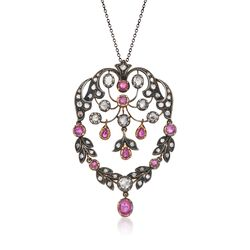 "C. 1970 Vintage 2.20 ct. t.w. Ruby and 3.20 ct. t.w. Diamond Pin Pendant Necklace in Sterling Silver and 18kt Gold. 18"", , default"