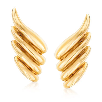 C. 1980 Vintage Tiffany Jewelry 14kt Yellow Gold Swirl Clip-On Earrings, , default