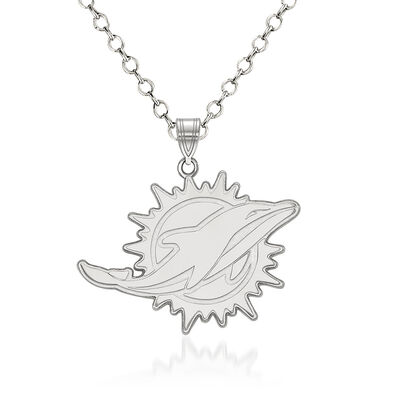 "Sterling Silver NFL Miami Dolphins Pendant Necklace. 18"", , default"