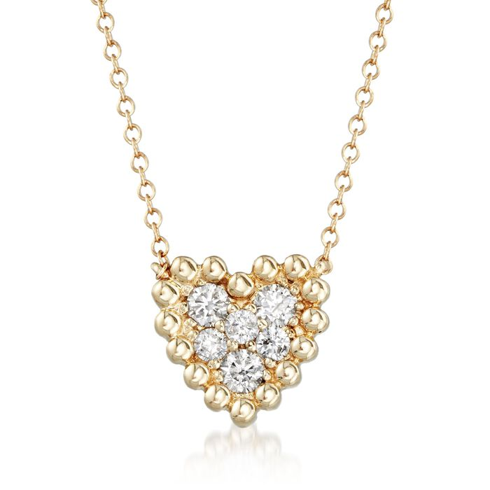 .34 ct. t.w. Diamond Cluster Heart Necklace in 14kt Yellow Gold, , default