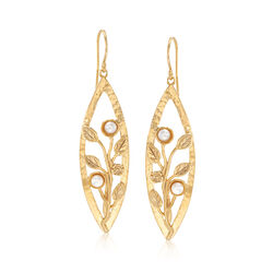 4mm Cultured Button Pearl Leaf Drop Earrings in 18kt Gold Over Sterling, , default