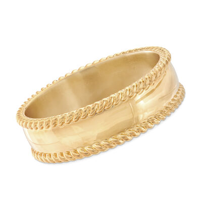 Italian Andiamo 14kt Yellow Gold Roped-Edge Bangle Bracelet, , default