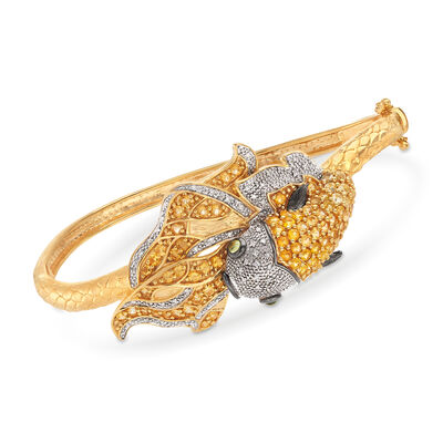 2.60 ct. t.w. Citrine and .20 ct. t.w. Diamond Koi Fish Bangle Bracelet with .10 ct. t.w. Peridots in 18kt Gold Over Sterling Silver, , default
