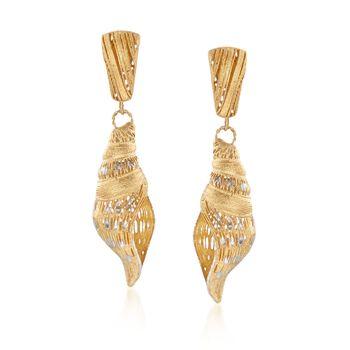 Italian Two-Tone Sterling Silver Seashell Drop Earrings, , default