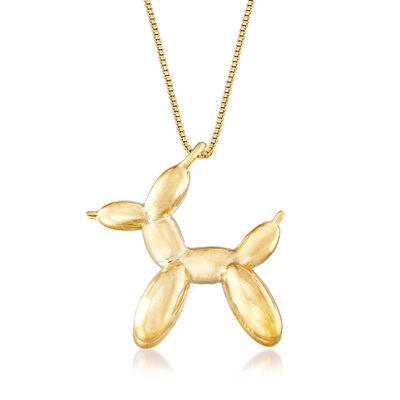 18kt Yellow Gold Over Sterling Silver Dog Balloon Style Pendant Necklace, , default