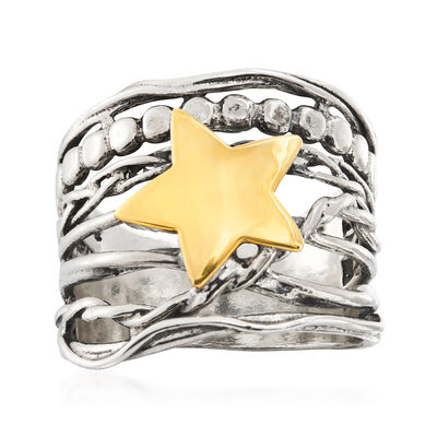 Two-Tone Star Ring in Sterling Silver with 14kt Yellow Gold, , default