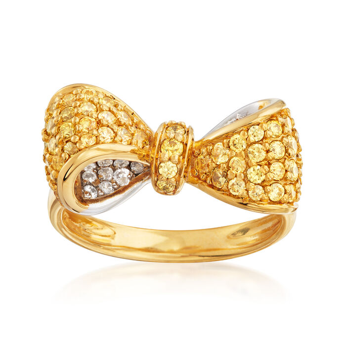 4.70 ct. t.w. Yellow and White CZ Bow Ring in Sterling Silver and 18kt Gold Over Sterling, , default