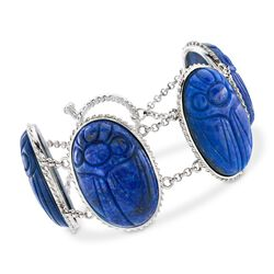 "Lapis Large Scarab Station Toggle Bracelet in Sterling Silver. 7"", , default"