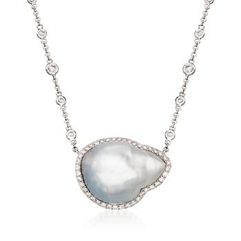 """20x15mm Cultured South Sea Baroque Pearl and Diamond Necklace in 18kt White Gold. 16"""", , default"""