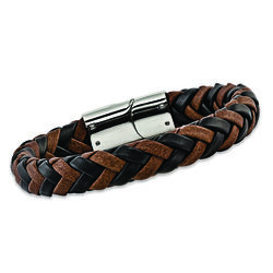 "Men's Black and Brown Leather Bracelet With Sterling Silver. 8.5"", , default"