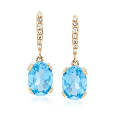 1.90 ct. t.w. Blue Topaz Drop Earrings with Diamond Accents in 14kt Yellow Gold, , default