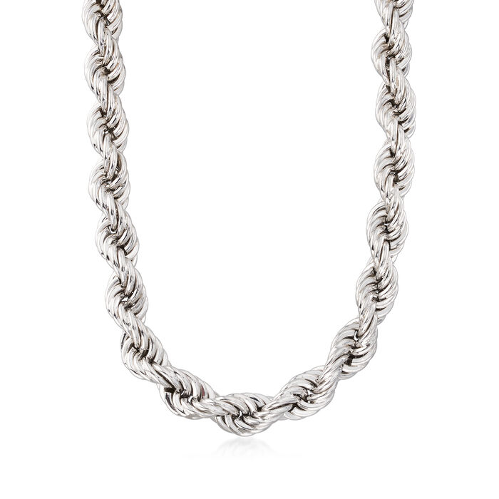 Italian Sterling Silver Rope Chain Link Necklace
