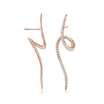 .83 ct. t.w. Diamond Swirl Drop Earrings in 14kt Rose Gold, , default