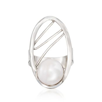 10-11mm Cultured Pearl Abstract Open Ring in Sterling Silver, , default