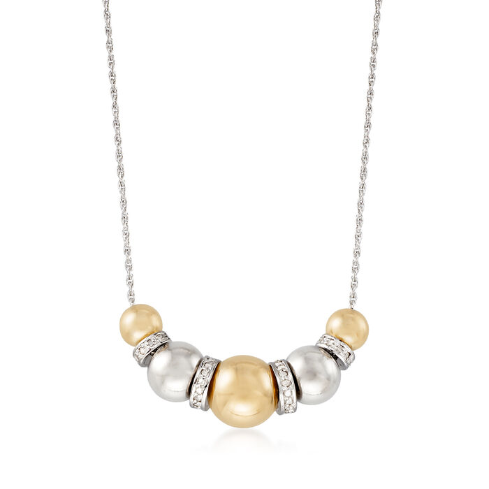 Sterling Silver and 14kt Yellow Gold Bead Necklace with .35 ct. t.w. Diamonds, , default