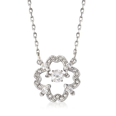 "Swarovski Crystal ""Sparkling Dancing Flower"" Clear Crystal Necklace in Silvertone, , default"