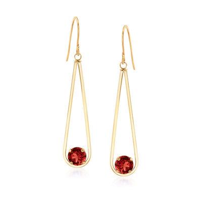 2.40 ct. t.w. Garnet Drop Earrings in 14kt Yellow Gold