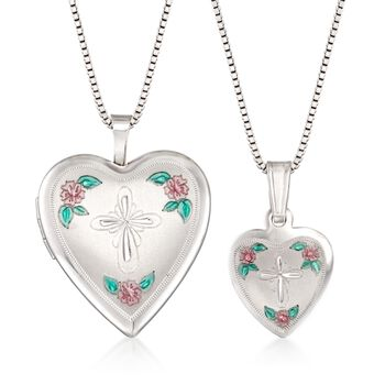 "Sterling Silver Mother/Daughter Jewelry Set: Two Heart Cross Necklaces With Enamel. 14""-18"", , default"