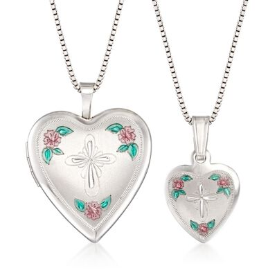 Sterling Silver Mom & Me Jewelry Set: Two Heart Cross Necklaces with Enamel, , default