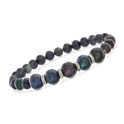 6-8.5mm Black Cultured Pearl and .25 ct. t.w. Diamond Stretch Bracelet in Sterling Silver