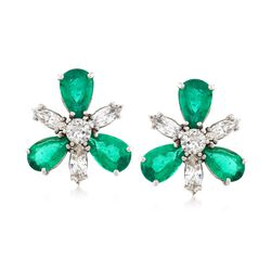 C. 1980 Vintage 7.00 ct. t.w. Emerald and 2.50 ct. t.w. Diamond Floral Earrings in 14kt White Gold, , default