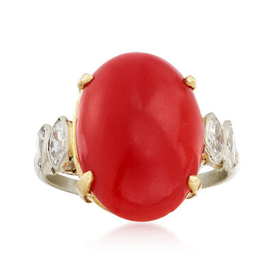 C. 1960 Vintage Red Coral and .40 ct. t.w. Diamond Ring with 14kt Yellow Gold in Platinum, , default