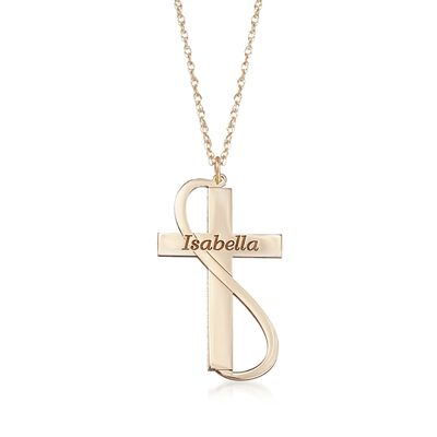 14kt Yellow Gold Cross and Ribbon Name Necklace