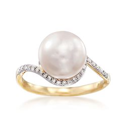 9.5mm Cultured Pearl and .20 ct. t.w. Diamond Ring in 14kt Yellow Gold, , default