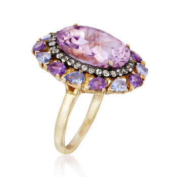 10.00 ct. t.w. Amethyst and 1.00 ct. t.w. Multi-Gemstone Ring in 14kt Gold Over Sterling, , default