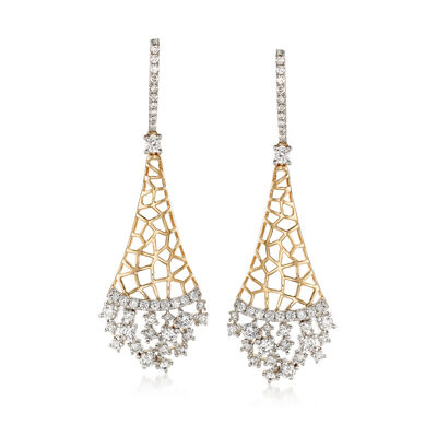 1.25 ct. t.w. Diamond Honeycomb Drop Earrings in 14kt Yellow Gold, , default