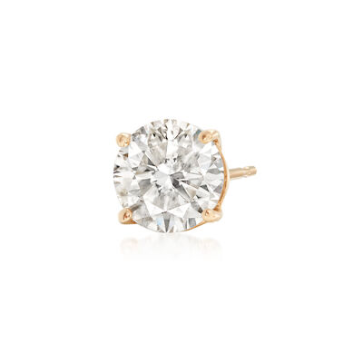 1.00 Carat Diamond Single Stud Earring in 14kt Yellow Gold, , default