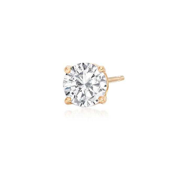 1.00 Carat Diamond Single Stud Earring in 14kt Yellow Gold, , default