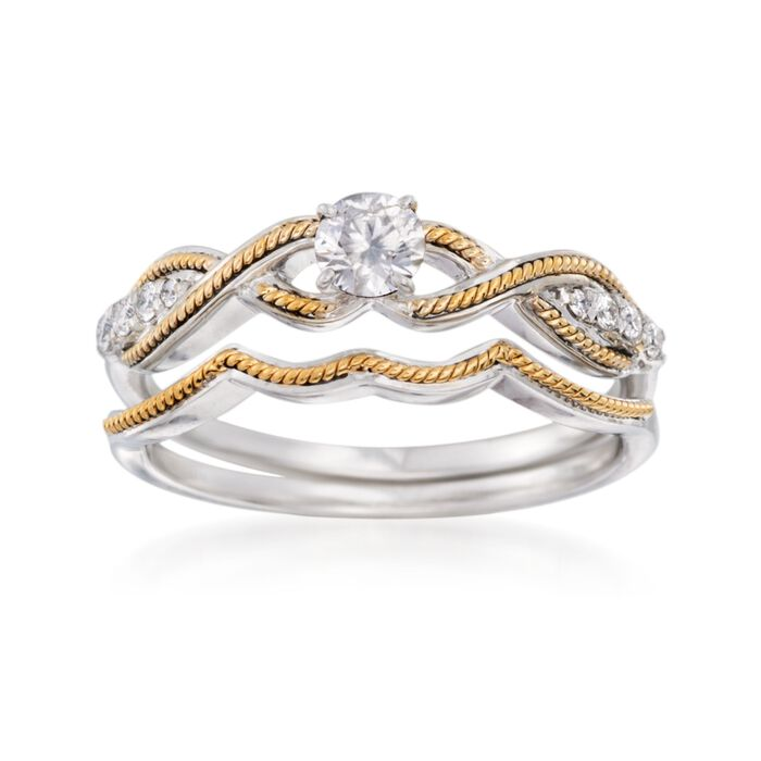 .35 ct. t.w. Diamond Bridal Set: Engagement and Wedding Rings in 14kt Two-Tone Gold