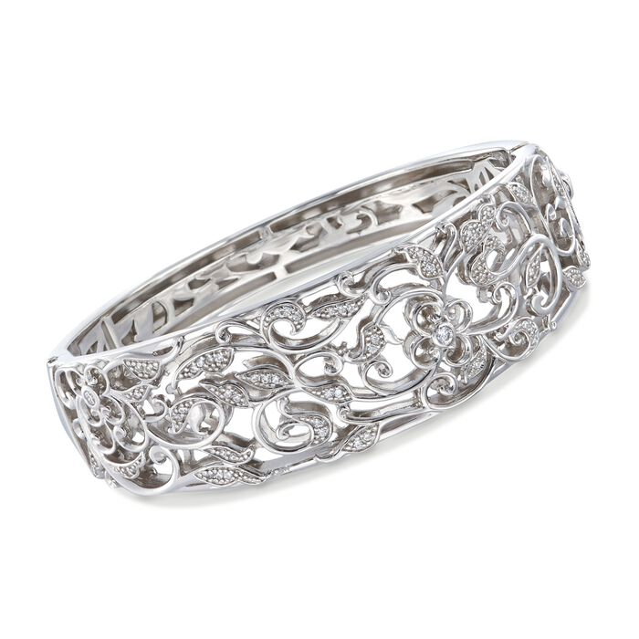 "Belle Etoile ""Empress"" .40 ct. t.w. CZ Bangle Bracelet in Sterling Silver. 7"", , default"
