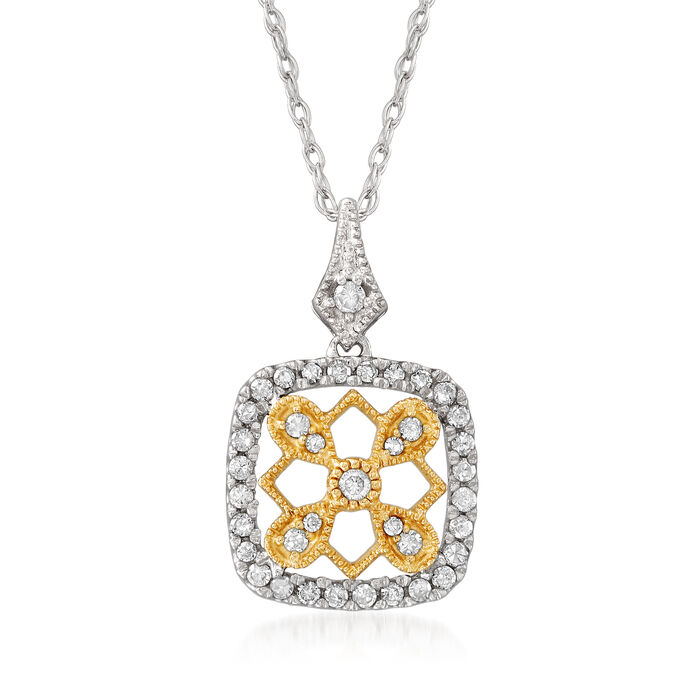 .25 ct. t.w. Diamond Geometric Pendant Necklace in Sterling Silver and 14kt Yellow Gold