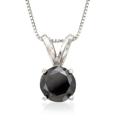 1.00 Carat Black Diamond Solitaire Necklace in 14kt White Gold