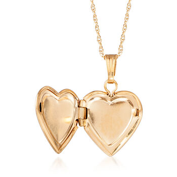 Child's 14kt Yellow Gold Small Heart Locket Necklace with Diamond Accent. 15""