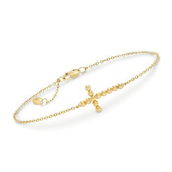 """14kt Yellow Gold Sideways Beaded Cross Bracelet. 7"""", , default"""