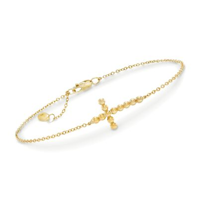 14kt Yellow Gold Sideways Beaded Cross Bracelet, , default