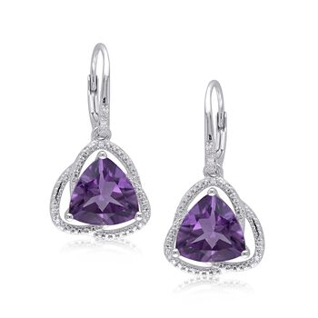 6.00 ct. t.w. Trillion-Cut Amethyst Drop Earrings With Diamond Accents in Sterling Silver , , default