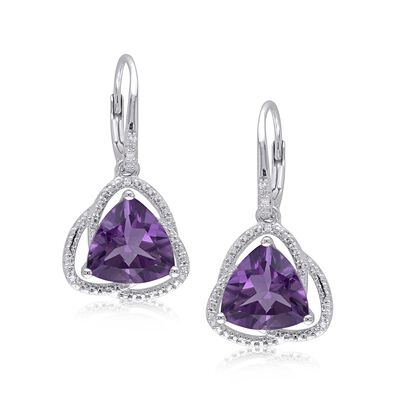 6.00 ct. t.w. Trillion-Cut Amethyst Drop Earrings with Diamond Accents in Sterling Silver, , default
