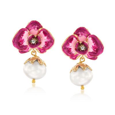 Italian Cultured Pearl and Pink Enamel Flower Drop Earrings, , default