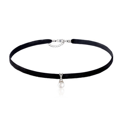 7-7.5mm Cultured Pearl and Black Velvet Choker Necklace with Diamond Accents, , default