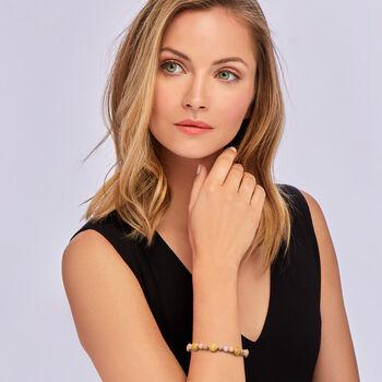 Pink Opal Beaded Charm Bracelet in 18kt Gold Over Sterling, , default