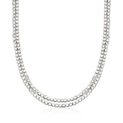 "Zina Sterling Silver ""Ice Cube"" Double Chain Necklace, , default"