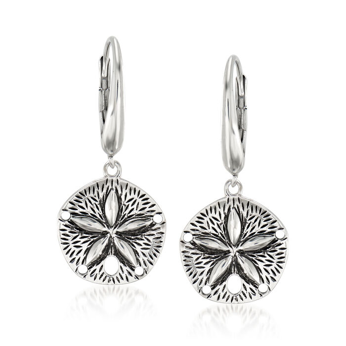 Sterling Silver Sand Dollar Drop Earrings, , default