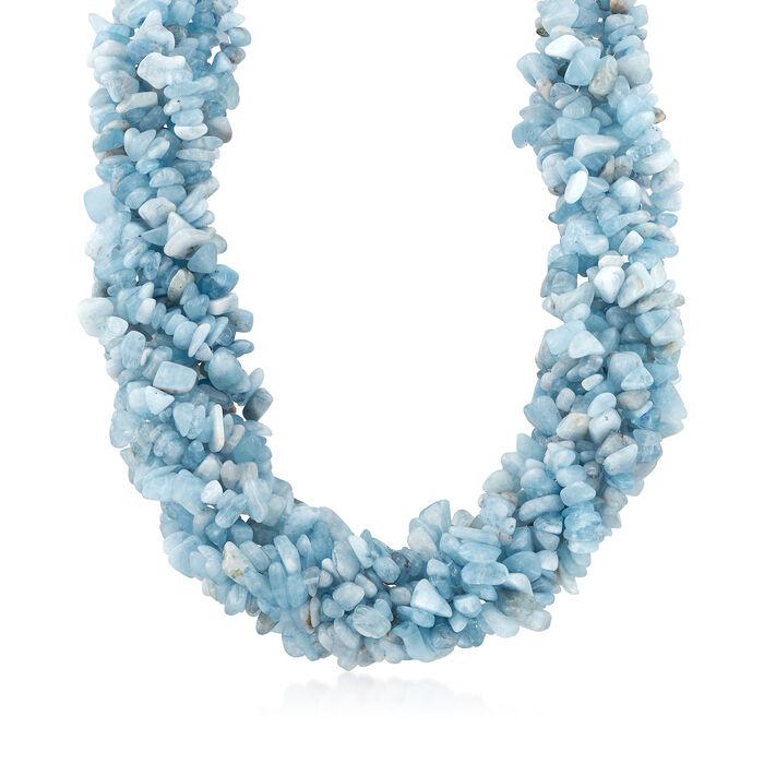 "Aquamarine Torsade Necklace with Sterling Silver. 18"", , default"
