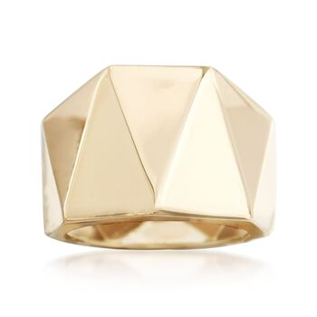 Italian 14kt Yellow Gold Wide Geometric Ring, , default
