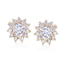 1.40 ct. t.w. CZ Starburst Stud Earrings in 14kt Yellow Gold, , default