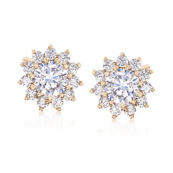 1.40 ct. t.w. CZ Starburst Stud Earrings in 14kt Yellow Gold, , default